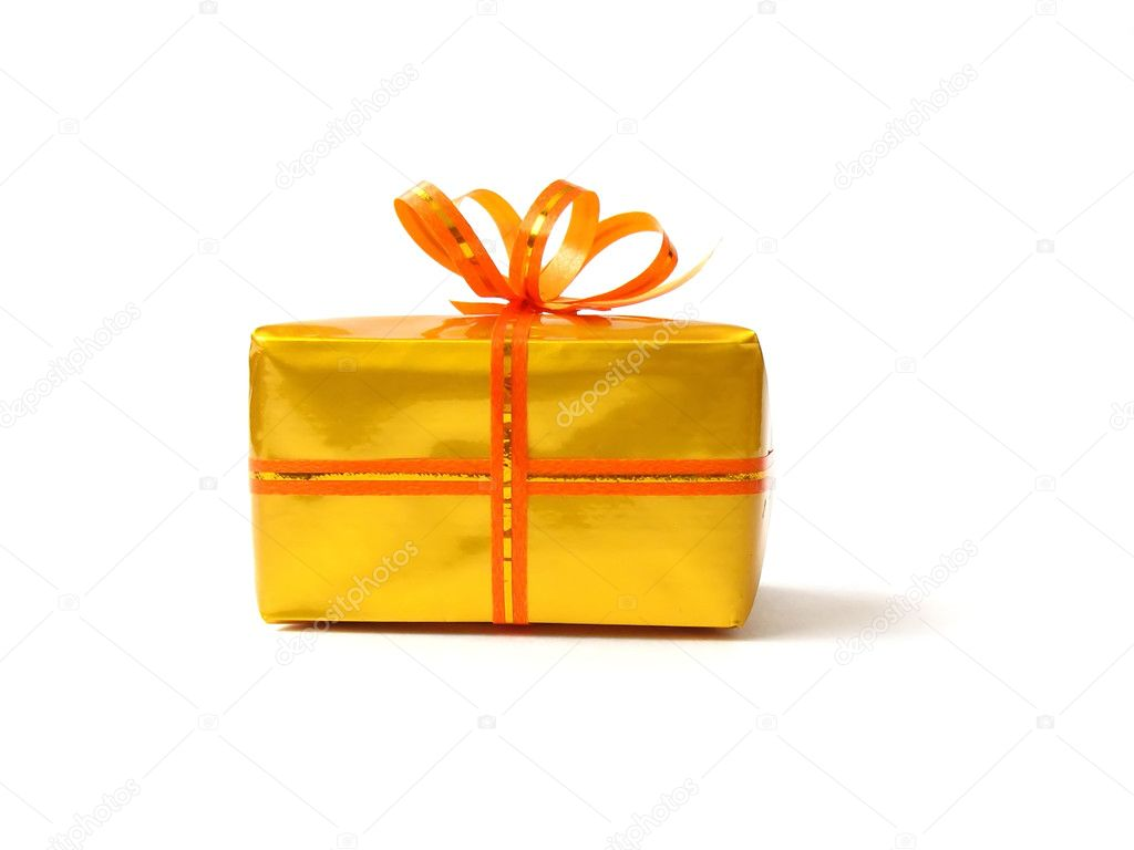 Present box in gold wrap and orange belt with bow on white — Stock Photo #1939148