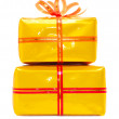 Gold present boxes.isolated — Stock Photo #1977301