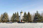 Winter view with chapel — Stock Photo