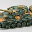 Closeup of a plastic toy tank — Stock Photo