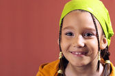Girl with a green kerchief — Stock Photo