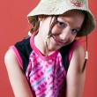 Stock Photo: Shy girl with hat