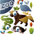 Royalty-Free Stock Vector Image: Zoo vector set: fowl, wolverine, snake, mole, butterfly