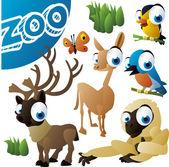 Zoo vector set: bird, reindeer, llama, monkey — Stock Vector