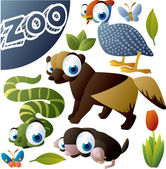 Zoo vector set: fowl, wolverine, snake, mole, butterfly — Stockvector