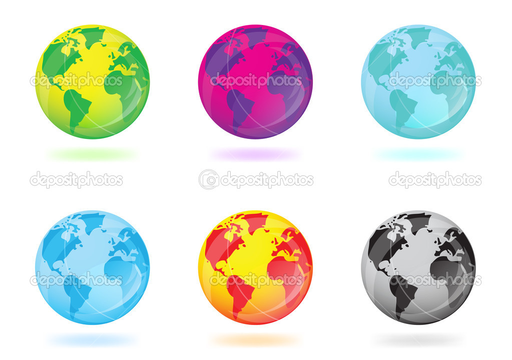 Colorful globes on white background — Stock Photo #1812036