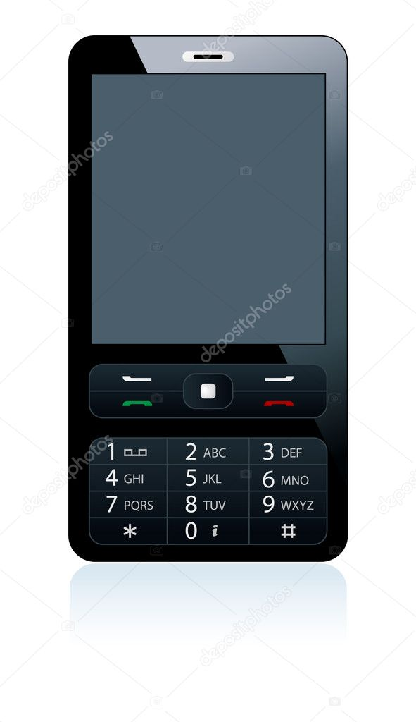 Black mobile phone on white background — Stock Vector #1811990
