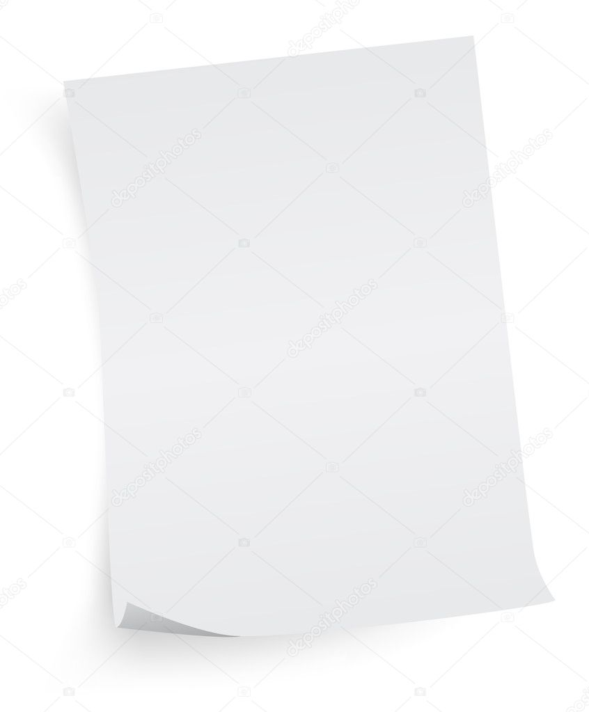 Empty sheet of paper on white  Stock Vector #1812128