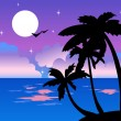 Tropical night - Stock Vector
