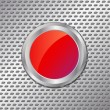Red button on metal background — ストックベクタ