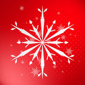 Snowflake on red background — Stock Vector