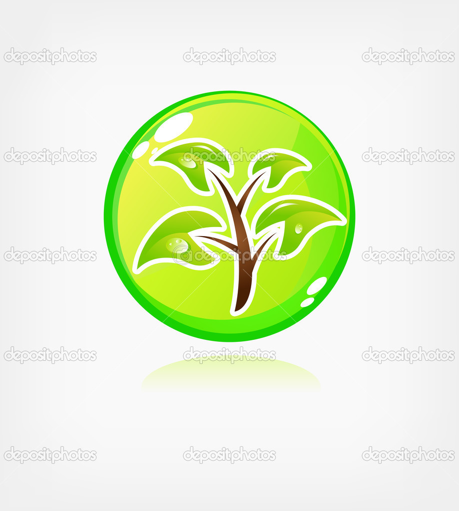 Green ecology button, web icon  — Stock Vector #2280115