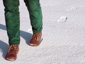 Caminar en la nieve — Foto de Stock