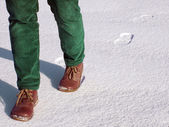 Walk on snow — Stock Photo