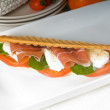 Stock Photo: Panini caprese and parmham