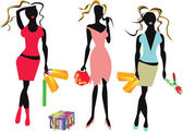 Shopping girls — Stock Vector