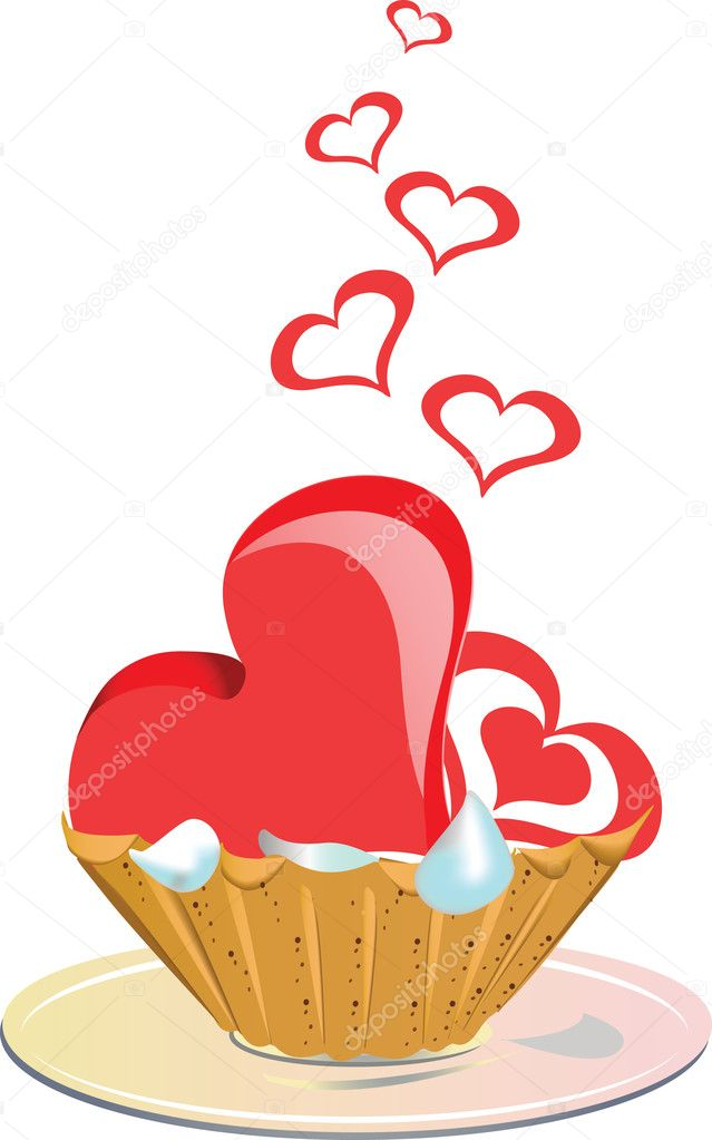 Cake with sweet heart for Day Valentine — Stock Vector #1759094