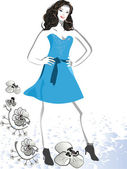 Young girl in blue dress — Stock Vector