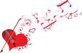 Melodía del corazón en el amor — Vector de stock