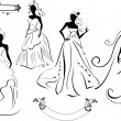 Stock Vector: Set of Brides