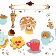 Set of sweet desserts - Stock Vector