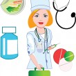 Doctor with medical icons — Stockvector #2157727