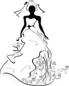 Chica de boda silueta — Vector de stock