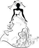Wedding silhouette girl — Vector de stock