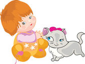 A Baby with a cat — Stock Vector