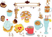 Set of sweet desserts — Stock Vector