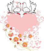 Hjärta med älskade duvor — Stockvektor