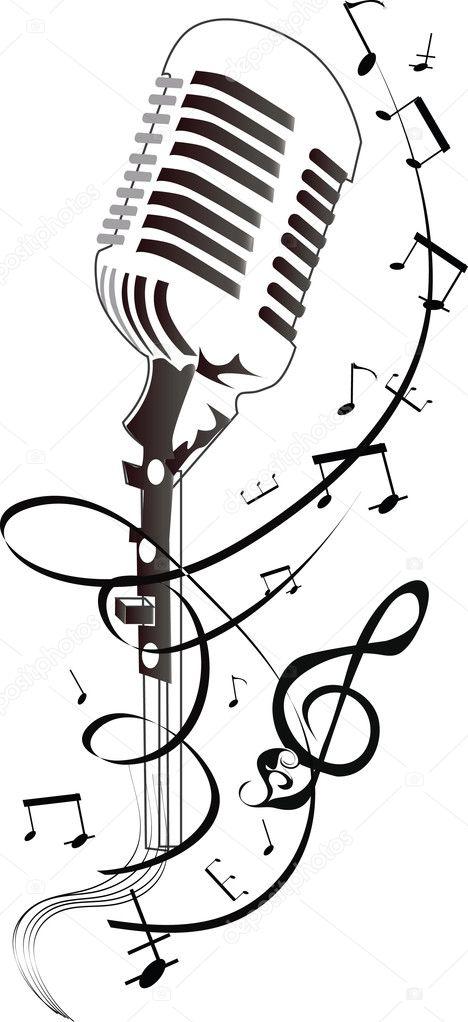 Micrófono con pentagrama abstracto — Vector de stock © Laifalight ...