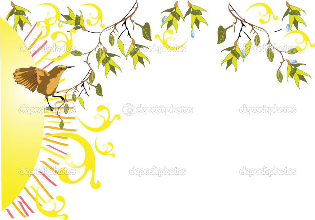 Spring tree with a bird  Stock Vector #2157672
