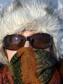 Woman during a major cold — Stock Photo