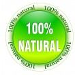 100% natural web glossy icon — Stock Vector