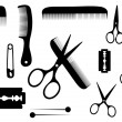 Stock Vector: Barber or hairdresser accessories