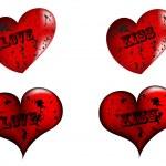grunge röd hjärta — Stockvektor