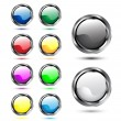 Vector de stock : Shiny glossy web icons