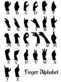 Alfabeto de dedo — Vetorial Stock
