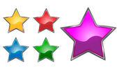 Estrelas como ícones brilhantes brilhantes — Vetor de Stock