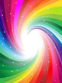 Regenboogkleuren swirl stralen — Stockvector