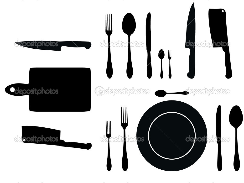 Silhouettes of kitchen accessories, cutlery, various types of knives dishes... — Stock Vector #1800589