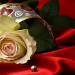 White rose and red satin for Valentine - Stock Photo