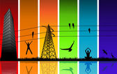 Silhouettes on rainbow colors — Vector de stock