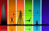 Silhouettes sur les couleurs de l'arc-en-ciel — Vecteur
