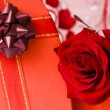 Stock Photo: Day Valentine red rose and ribbon