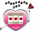 Valentine slot machine — Stock Vector