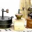 Stock Photo: Three old coffee grinders