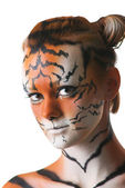 Portrait of woman-tiger — Stock Photo