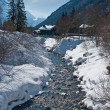 Постер, плакат: Rapid brook among snowcapped banks